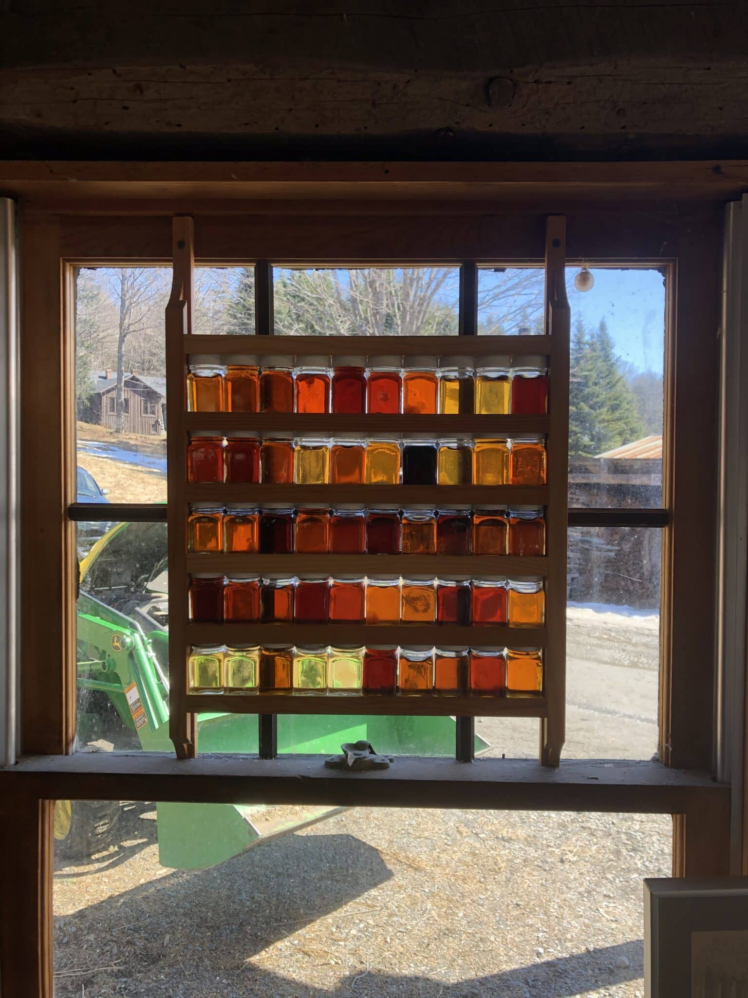 maple syrup framed in window