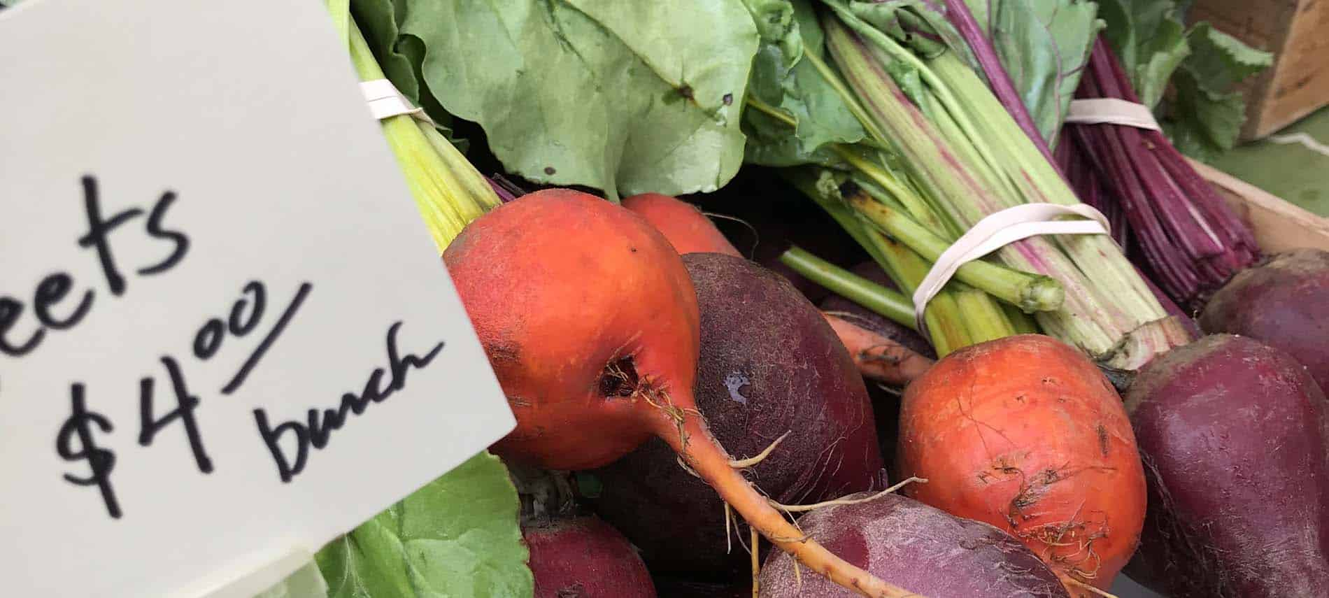 vermont farmers market upclose image beets for sale