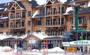 large ski resort with gondola lift