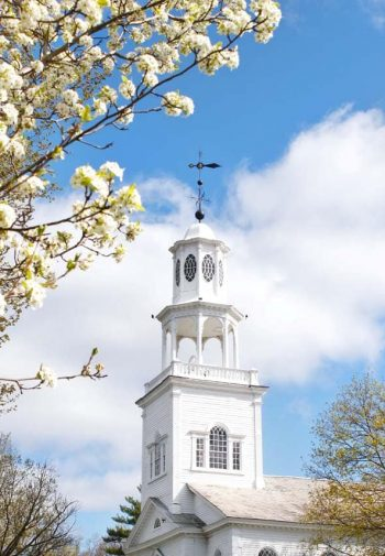 old first church steeple apple blossoms