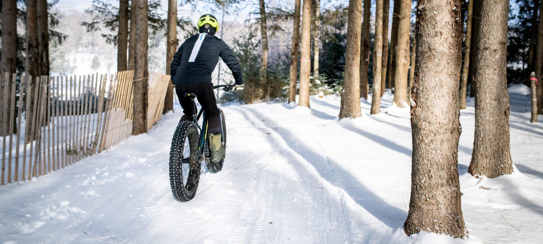 man riding winter fat bike