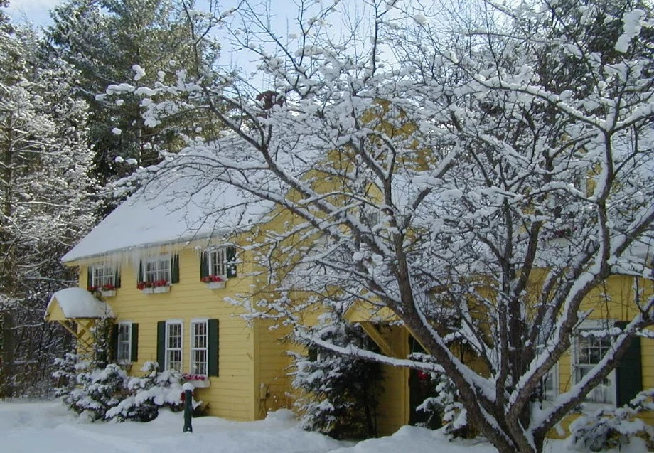 yellow house with a snow covered roof and lawn