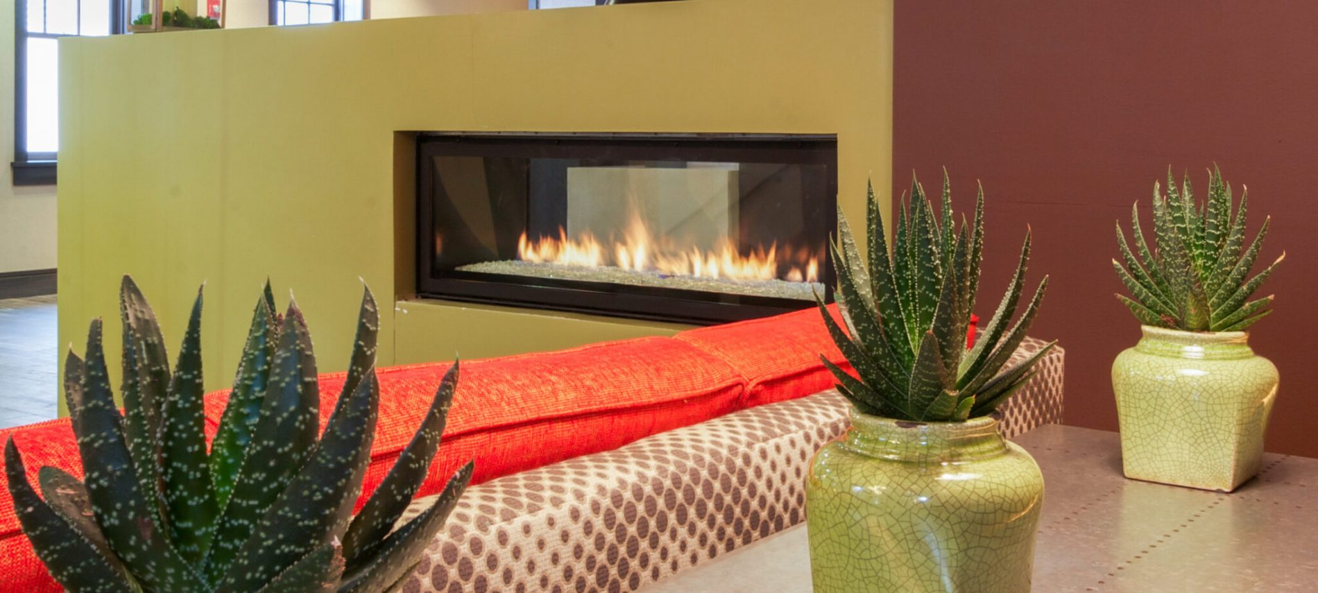 fireplace plants contemporary decor hotel lobby