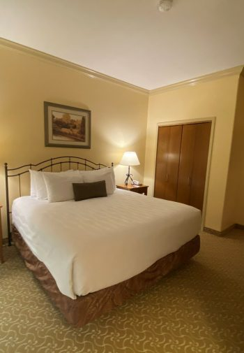Large king-sized bed in hotel room suite.