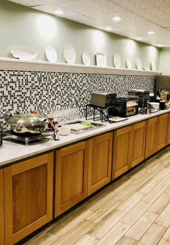 Hotel breakfast bar with self-serve selections.
