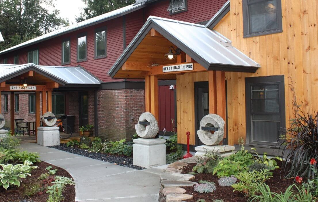wood frame building with two entrances
