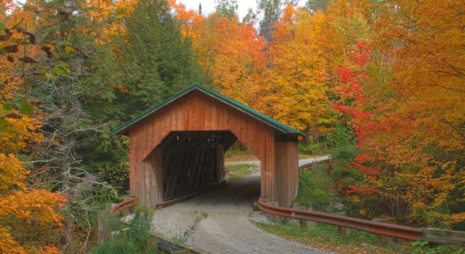 Wood covered bridge with green roof in the fall surrounded by trees with vibrant fall foliage