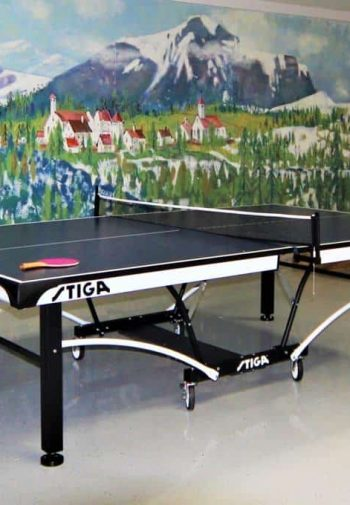 Recreation room with ping pong table and large, beautiful wall mural of snow-capped mountains and red-roofed buildings