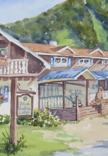 Watercolor painting of Blue Gential Lodge surrounded by green grass and tree-topped hills in the background